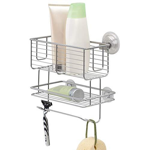 mDesign Duschkorb zum Hängen aus Metall - praktische Duschablage mit Zwei Ebenen für Shampoo, Schwämme, Rasierer und sonstiges Duschzubehör - silberfarben -