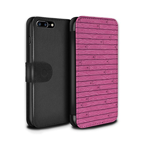 Stuff4 Coque/Etui/Housse Cuir PU Case/Cover pour Apple iPhone 7 Plus / Turquoise Design / Motif Bois Collection Rose