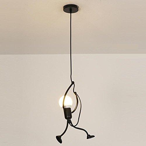 E27 Lampe Suspension - Humanoïde Lampes de Plafond - Hauteur réglable - Luminaire suspendu vintage Pour le salon salle à manger bar cafétéria (1 Tête)