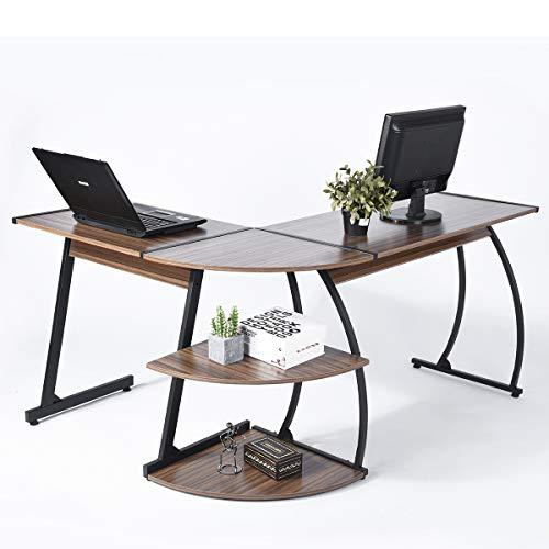 EGGREE Computertisch Eckschreibtisch L-förmig Home Büro Computerspiel Lernen Schreibtisch Retro Holzmaserung - Büro-schreibtisch, Home