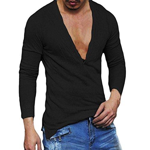 T-Shirt Herren Langarm Slim Fit Hemden Persönlichkeit Oberteile V-Ausschnitt Top Freizeithemd Btruely Holzfällerhemd Männer Pullover Sweatshirts (M, Schwarz) -