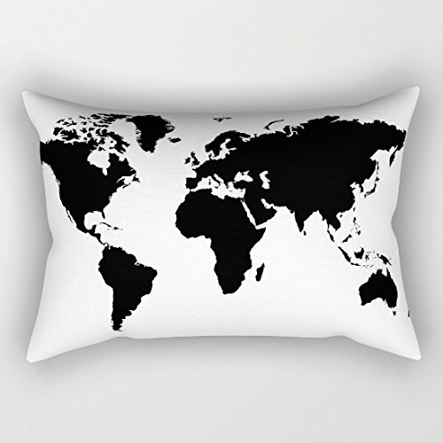 oliyneco Carte du monde Noir et Blanc Toile en coton couvre-lit décoratif taies d'oreiller Taie d'oreiller Housse de coussin rectangulaire, 51 cm x 76 cm