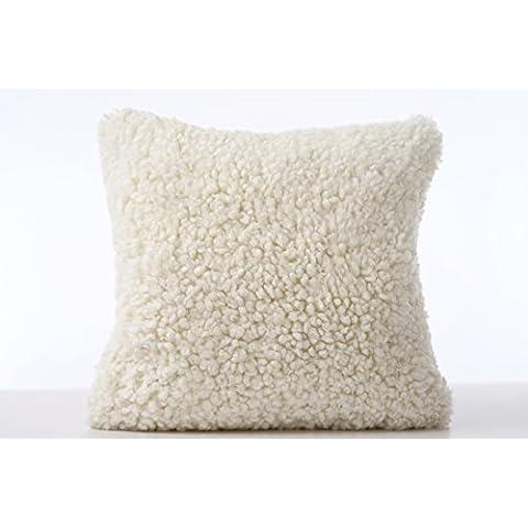 Genuine lato singolo, Cuscino in vello di pecora australiana-Plaid in lana d'agnello, da WaySoft/100%-Cuscino in pelle di pecora naturale, lusso, stile contemporaneo, colore: bianco avorio, 40,64 cm x (16 (16 40,64 cm), bianco avorio, 16in x 16in