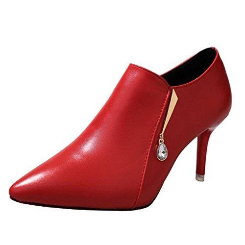 Mashiaoyi Donna Diamante Punta-Toe Tacco a Spillo Zip Metallo Boots Rosso