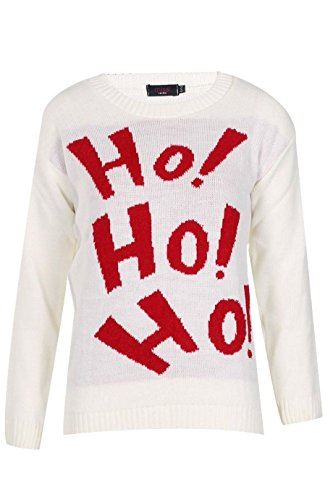 Generic -  T-shirt - Donna S5: Cream - HO HO HO Jumper