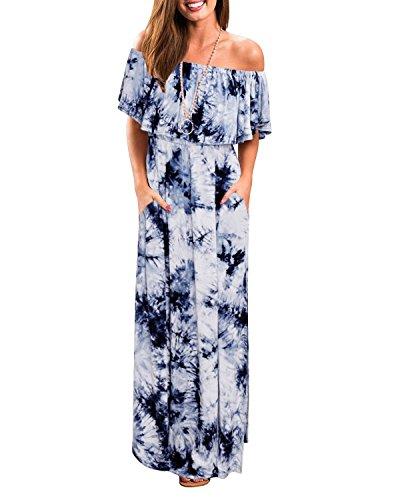 ABYOXI Damen Schulterfrei Rüschen Drucken Sommerkleid Elastic Waistband Split Saum Maxi langes Kleid Blau XXL