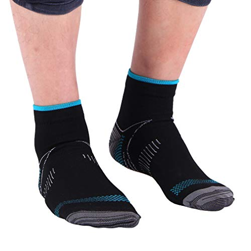 COMVIP Damen Herren Unisex Sport Socken Kurze Socke Fußbandage Knöchel Kompressionssocken Aus Nylon S/M Schwarz-blau (Herren Nylon-knöchel-socken)