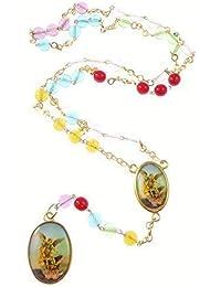 Corona de San Miguel - Medalla de cristal abalorios rosario con cadena en tono plateado rojo verde azul