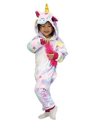 Pyjamas Kinder Einhorn Kostüm Jumpsuit Onesie Tier süß Schlafanzug Overall Cosplay Karneval Fasching (M: für Höhe 105-114 cm, Sterne)