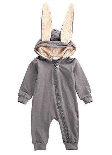 iKulilky Baby Strampler Overall Unisex Neugeborenen Schlafstrampler Hasenohren Strampelanzug Pyjama Kostüm Bekleidung Karikatur Tier Jumpsuit Spielanzug Schlafanzug (Super Cute Baby Kostüm)