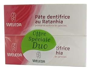 Weleda Duo Pâte dentifrice au Ratanhia 75mlx2 soit 150ml