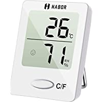 Habor Mini Thermometre Interieur, Hygrometre Interieur de Haute Précision pour Détecter l'Humidité et la Température, Indication du Niveau de Confort, Portable