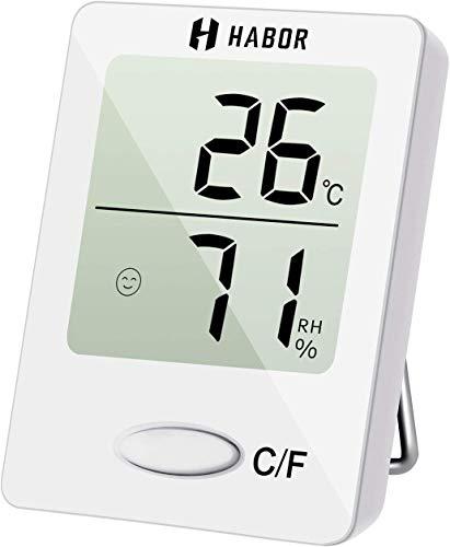 Habor Mini Thermometre Interieur, Hygrometre Interieur de Haute Précision pour Détecter l'Humidité et la Température, Indication du Niveau de Confort, Portabl