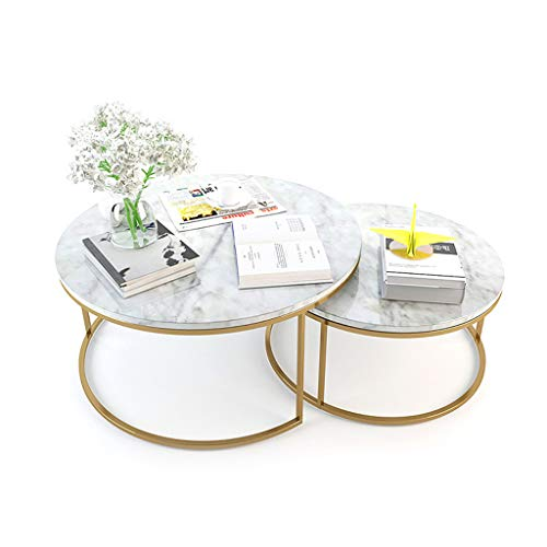 ZRXian-Kaffeetische Beistelltische im nordischen Stil, Nesting Side Coffees, eleganter Kunstmarmor, Edelstahl vergoldet, für Wohnzimmermöbel, Nesting of 2 -