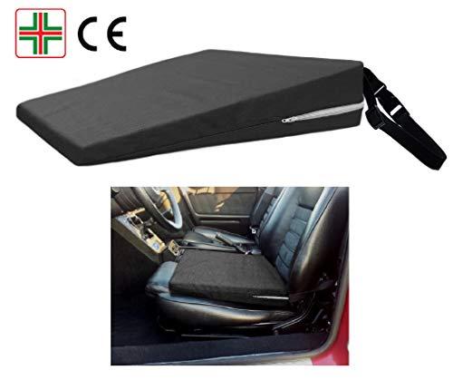 Cuscino a cuneo -nero- rialzo per sedile auto, supporto lombare, cuneiforme ergonomico ortopedico, correttore postura schiena per macchina