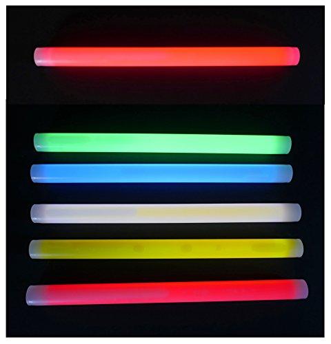 Xtrem Knicklicht 350x25 mm FETT und extrem Helle Leuchtstäbe, 7 Farben, Knicklichter optimal als SOS Outdoor Survival Tauchen LED Glowstick Partylicht Neon weiß rot gelb grün orange blau (Rot)