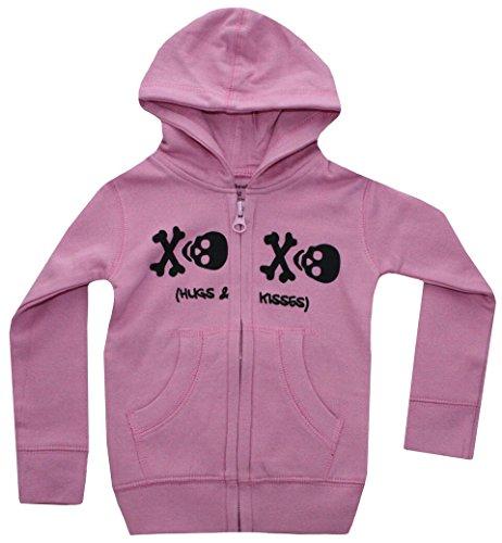 Skull XO infant Baby Girls Hooded Sweatshirt Pink and Black 6-12 Months