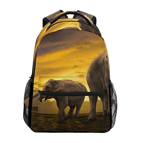 COOSUN Familia de Elefantes en la Bolsa de la Puesta del Sol...