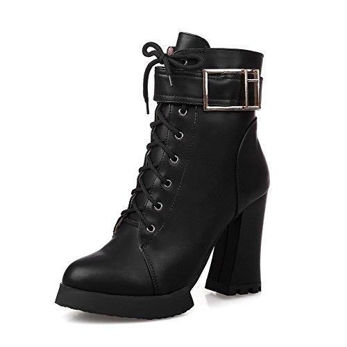 AgooLar Damen Rund Zehe Blend-Materialien Reißverschluss Niedrig-Spitze Hoher Absatz Stiefel Schwarz-Überschneidend Armband