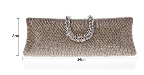 FZHLY Lange Clutch Bag Diamant U-förmige Schnalle Abendtasche Black