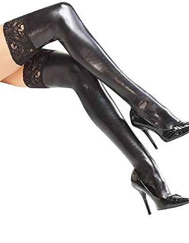 Neue Damen Wet Look Schwarz Halt UPS mit Spitzen-Strumpfwaren Fancy Kleid Halloween-Kostüm Hen Night Dessous One Size passend für S/M (Dessous Halloween)