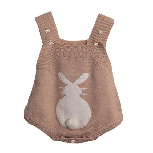 samLIKE Neugeborenes Baby Mädchen Mädchen Kaninchen Spielanzug strickte Häschen Overall Ausstattungs Kleidung (100, Braun) (Flanell Spieler)
