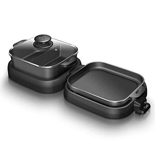 MKXF BBQ-Grill, Siamesischer Elektrischer Haushaltsofen, Multifunktionsheißer Topf, Backform, Dual-Use-Maschine, Grillpfanne, Faltbar,Schwarz