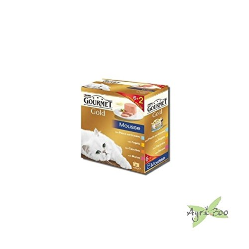8 x 85 gr scatolette gatto gourmet gold mousse vari (Mangime Per Pesci Animali)