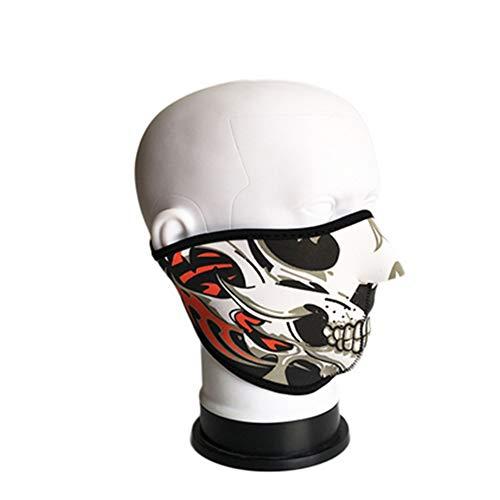 Isuper Gesichtsmaske für die menschliche Skelett, halbe Maske, warm, personalisierbar, Winddicht, für Motorradfahrer, Snowboard, Angeln (F Style) (Skelett Halb Maske)