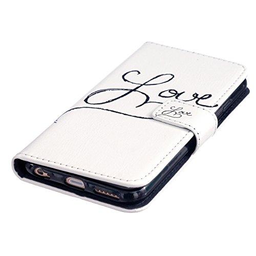 """Aeeque iPhone 6 Plus Bookstyle Étui Card Slot [Simple Series] Housse en Cuir Fermeture Magnétique Case à rabat pour iPhone 6 Plus / 6S Plus 5.5"""" Coque de protection Portefeuille TPU Case - Pissenlit E LOVE"""