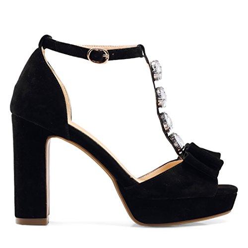 UH Femmes Sandales à Talons Haut Blocs Laniere en T avec Noeud Strass et Boucle Peep Toe Elegantes Noir