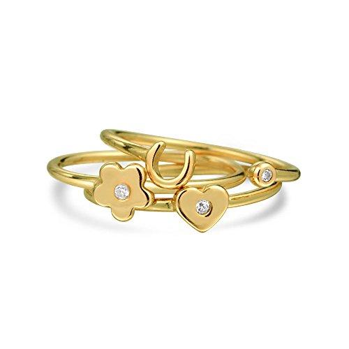 Bling Jewelry Plata Esterlina 925 CZ Corazón Flor Herradura Suerte Anillos Midi chapado en oro