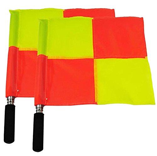 2×Chytaii Schiedsrichter Flagge Fußball Linienrichter Flaggen Fußball Schiedsrichter Assistenten Fahnen Set Gelb -