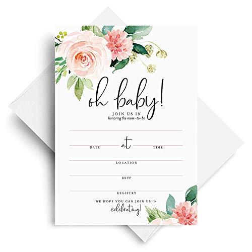 Bliss Paper Boutique - Inviti per baby shower con buste, 12,7 x 17,78 cm, motivo floreale per ragazza, boho, rosa, vuoti, confezione da 25