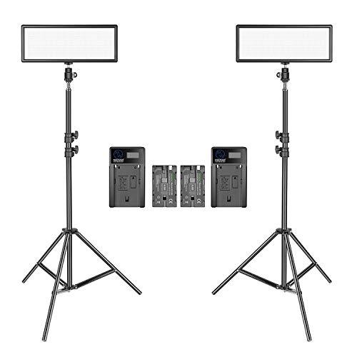 Neewer 2 Pacchetto LED Video Luce Ultra Sottile con Stand di Luce per Fotografia 3200K 5600K Bi Colore Dierabile LED Panello Batteria di Litio e