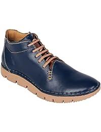 tZaro Blue Zig Genuine Leather Ankle Boots