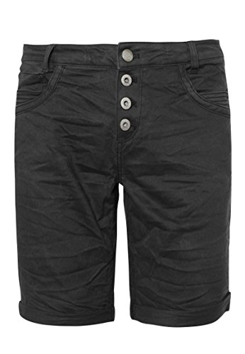 Urban Surface Damen Bermuda Shorts | Bequeme kurze Stoffhose aus Stretch-Twill - Loose Fit dark-grey M (Schwarze Bermuda-shorts)