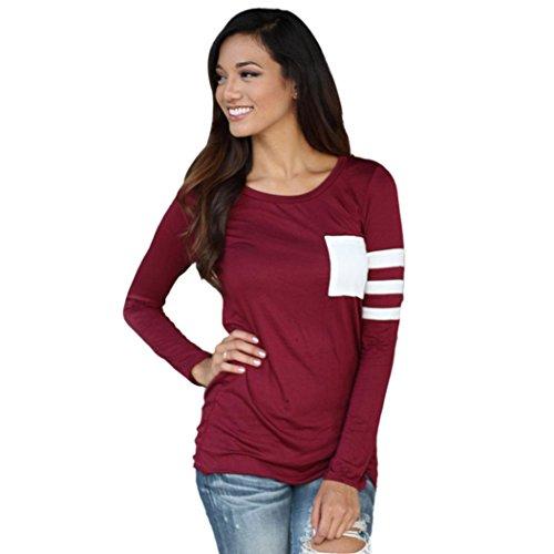 AMUSTER Donne Rosso Rotondo Collo Splice Camicia A Maniche Lunghe Primavera Autunno Camicetta Top T-Shirt