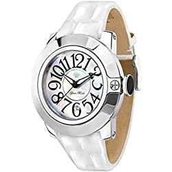 Glam Rock Watches Unisex Quartz Watch with White Dial Analogue Display and White Leather Strap 0.96.2279