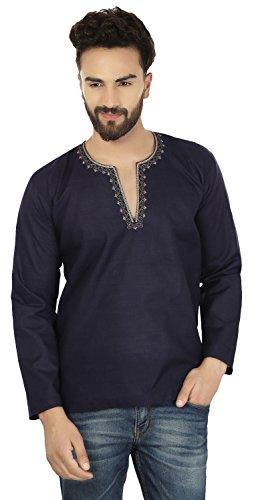 Cotone Breve Kurta Mens Camicia Ricamata Dress India Abbigliamento (Dark