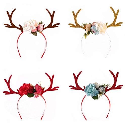 Toyvian Weihnachten Haarreif Rentier Stirnband mit Blumen Kinder Mädchen Hirsch Geweih Haarschmuck Elch Haarband Erwachsene Kostüme Zubehör (zufällige Farbe)