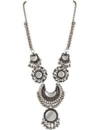 Zephyrr Jewellery Afghani German Silver Beaded Long Pendant Necklace with Mirrors