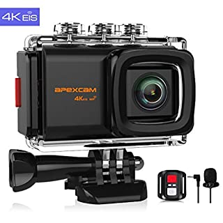 Apexcam 4K 20MP WiFi Sports Camera EIS Ultra HD Waterproof Underwater Camera 40M 2.0'LCD 170 ° Wide-angle 2.4G Remote External Microphone 2 Batteries and Accessories