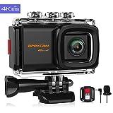 Apexcam 4K 20MP WiFi Action Cam EIS Ultra HD Sportkamera wasserdichte Unterwasserkamera 40M 2.0'LCD 170 ° Weitwinkel-2.4G-Fernbedienung externes Mikrofon 2 Batterien und andere