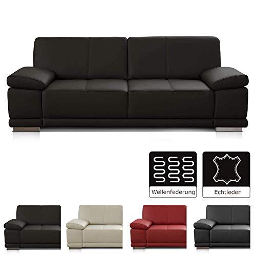 CAVADORE 3-Sitzer Sofa Corianne / Echtledercouch im modernen Design / Mit Armteilverstellung / 217 x 80 x 99 / Echtleder...