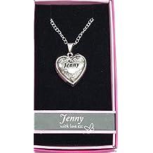 """Jenny Nombre personalizado con texto """"Love Lockets/colgantes con soporte de la imagen Presenta Beautifully by Sterling effectz"""