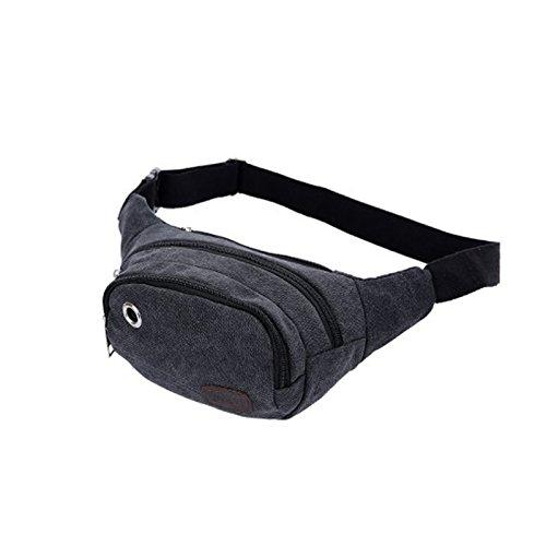 Dxlta Mode Unisex Canvas Taille packt Gürtel Tasche tragbare Männer Frauen reisen Taille Sporttaschen Schwarz