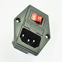 SODIAL(R) 3 Pin IEC320 C14 Enchufe de Modulo de Entrada Interruptor Fusible Macho Enchufe de Corriente 10A 250V