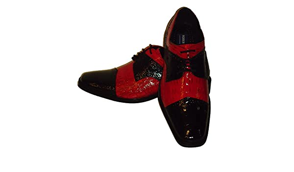 Robeto Chillini 6744 Mens White Red Shiny Croc-Look Wingtip Dress Shoes