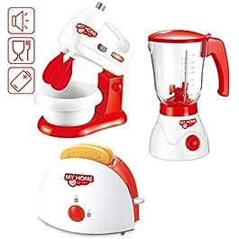 deAO Set di Utensili Elettrodomestici da Cucina per Bambini Accessori da Cucina Giocattolo Include Tostapane, Frullatore…